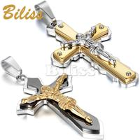 2015 Men Cross Jesus Necklace Fashion Stainless Steel Black Gold Pendant For Vintage Fine Holiday Accessories