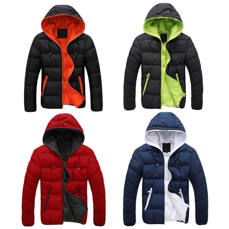 2019 Winter Cotton Warm Outwear Parka Winter Jacket Men Hooded Collar Coat Mens Warm Down Casual Coats with Zipper Pocket 11