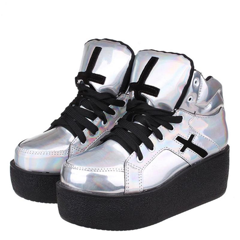 ФОТО Womens ladies high platform wedge goth punk creepers ankle boots fashion autumn winter silver hologram Woman HARAJUKU shoe