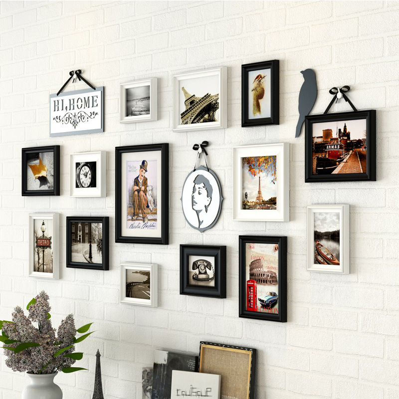European Garden Style 14Pcs Photo Frames for Wall Background Wooden ...