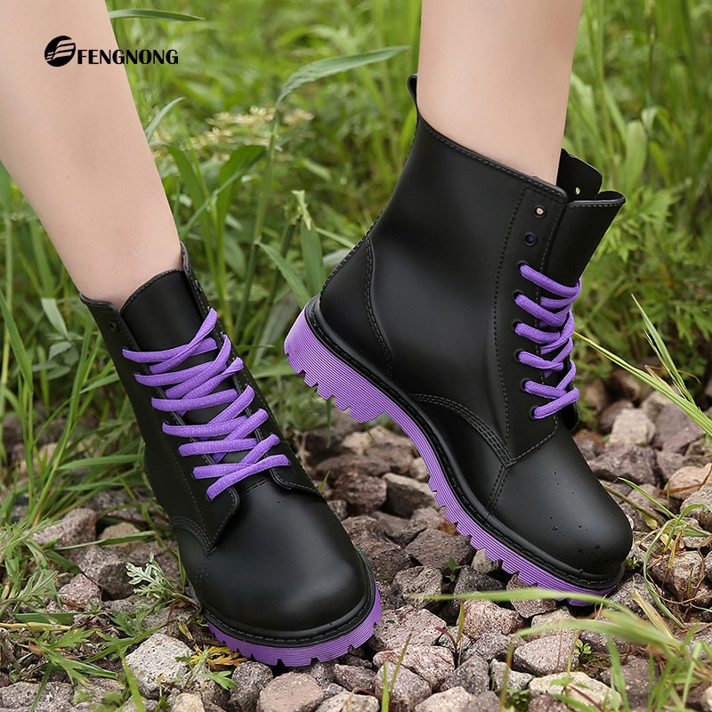 ФОТО Ladies Waterproof Rain Boots Mujer Rubber Brand Lace-up Short Ankle Boots Non-slip Rainboots Water Shoes Female Botas Quality