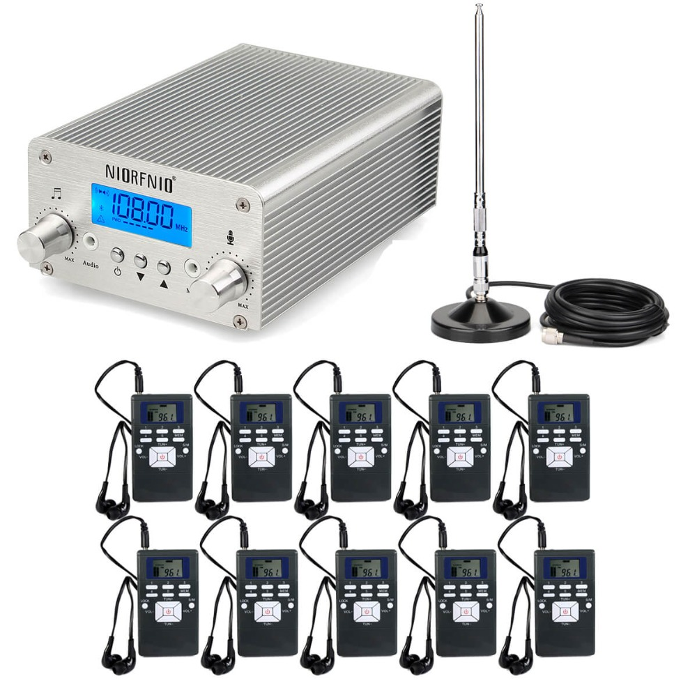 NIORFNIO Wireless Broadcasting System FM Transmitter + 10 FM Radio Receiver for Church Meeting Translation Y4439 fm fm transmitter mp3 wireless microphone transmitter radio transmitter board module diy suit kit of parts