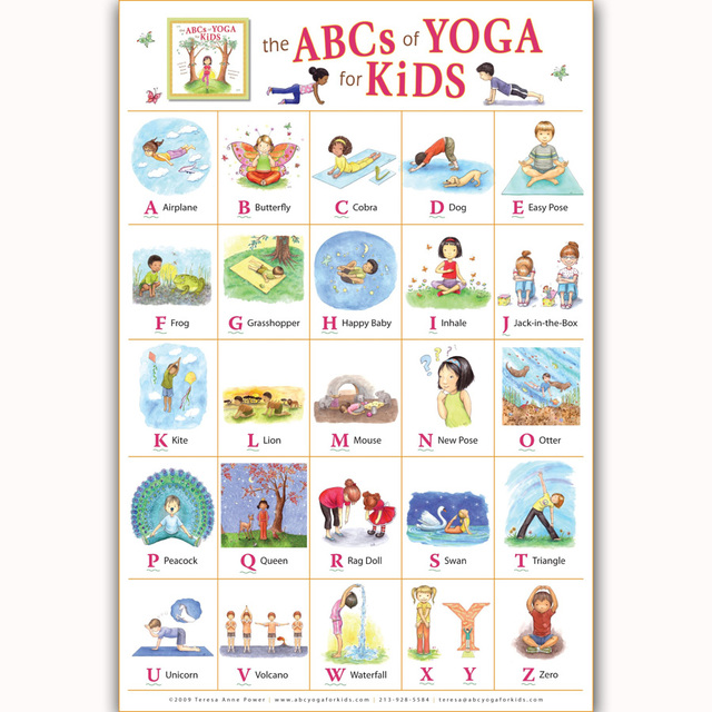 Mq477 My Abc Alphabet Yoga Pose Learning Table Kids