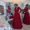 2016 New Arrival Long Sleeve Lace Top Red Chiffon Sexy Prom Dresses Vestido De Festa Longo Cheap Sheer Back Long Evening Dresses