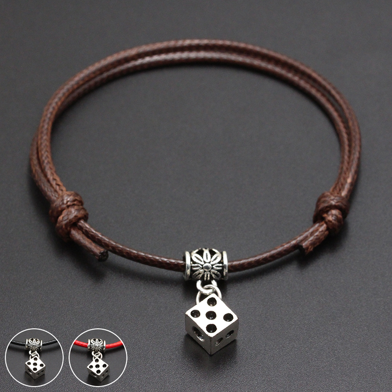 2020 New Cube Dice Pendant Red Thread String Bracelet Lucky Black Coffee Handmade Rope Bracelet for Women Men Jewelry