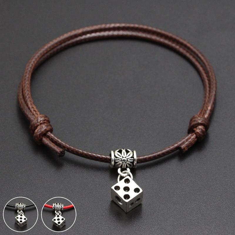 2020 New Cube Dice Pendant Red Thread String Bracelet Lucky Black Coffee Handmade Rope Bracelet for Women Men Jewelry