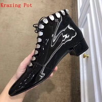 Krazing Pot genuine leather low heels metal fasteners career work boots Winter round toe Hollywood movie star ankle boots L29