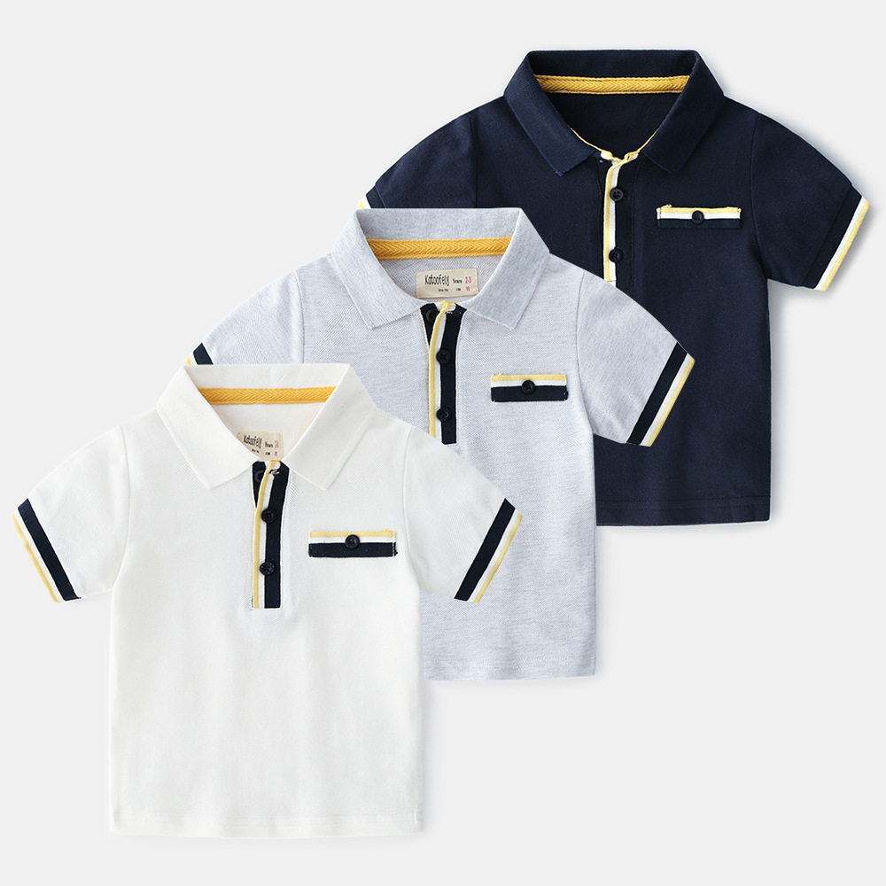 Boys Cotton Polo Shirts British-style Breathable Kids Striped Short-sleeved Shirt