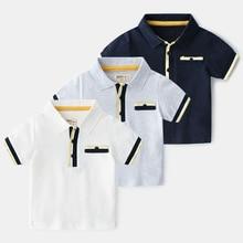 Boys Cotton Polo Shirts British-style Cotton Breathable Kids Striped Polo Short-sleeved Polo Shirt стоимость