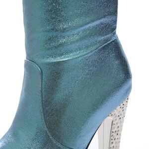 Image 5 - 2019 חדש 15cm סופר עקבים גבוהים נשים מגפי 6cm פלטפורמת הברך גבוהה מגפי גבירותיי שמלת מועדון ריקודים זהב כסף כחול