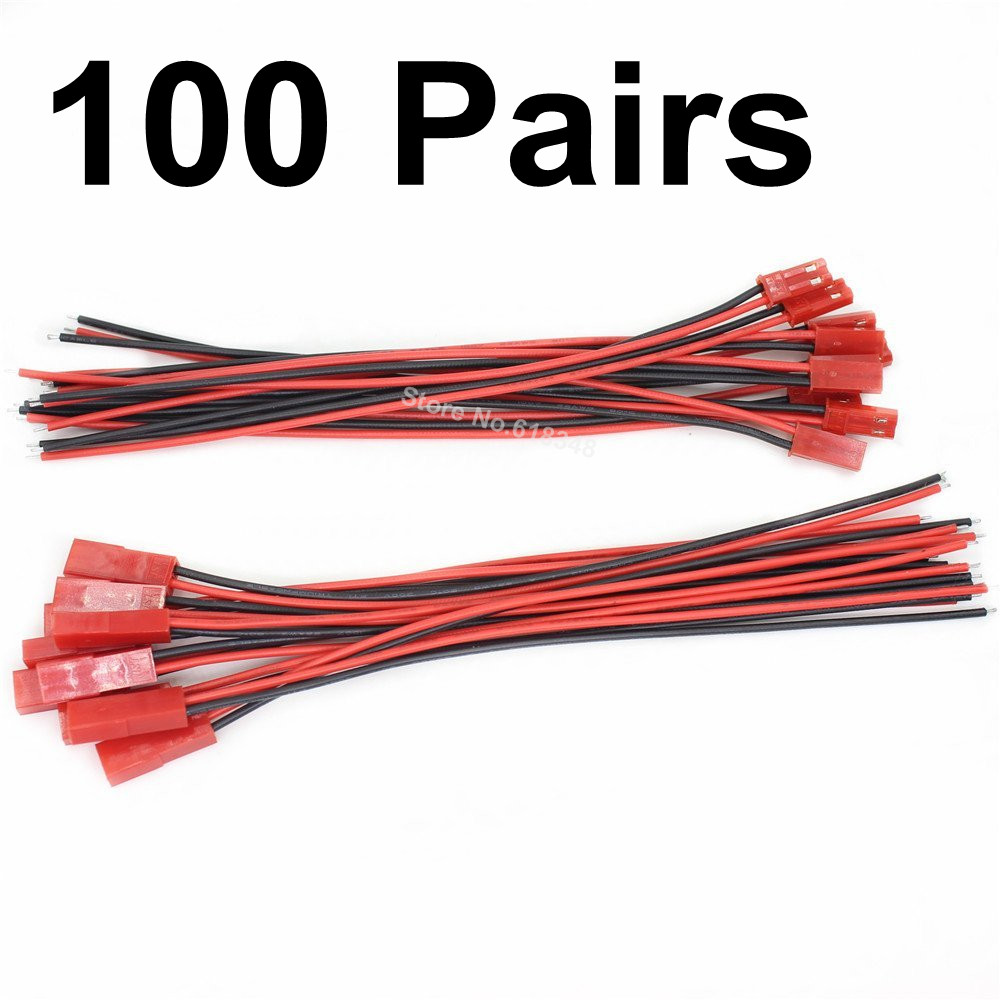 100 Pairs JST Plug & Socket connectors Pre-Wired 150mm leads 2pin 22 AWG gauge Silicone Wire For RC Battery ESC BEC technica audio technica ath ar3bt портативная гарнитура беспроводная bluetooth гарнитура белый