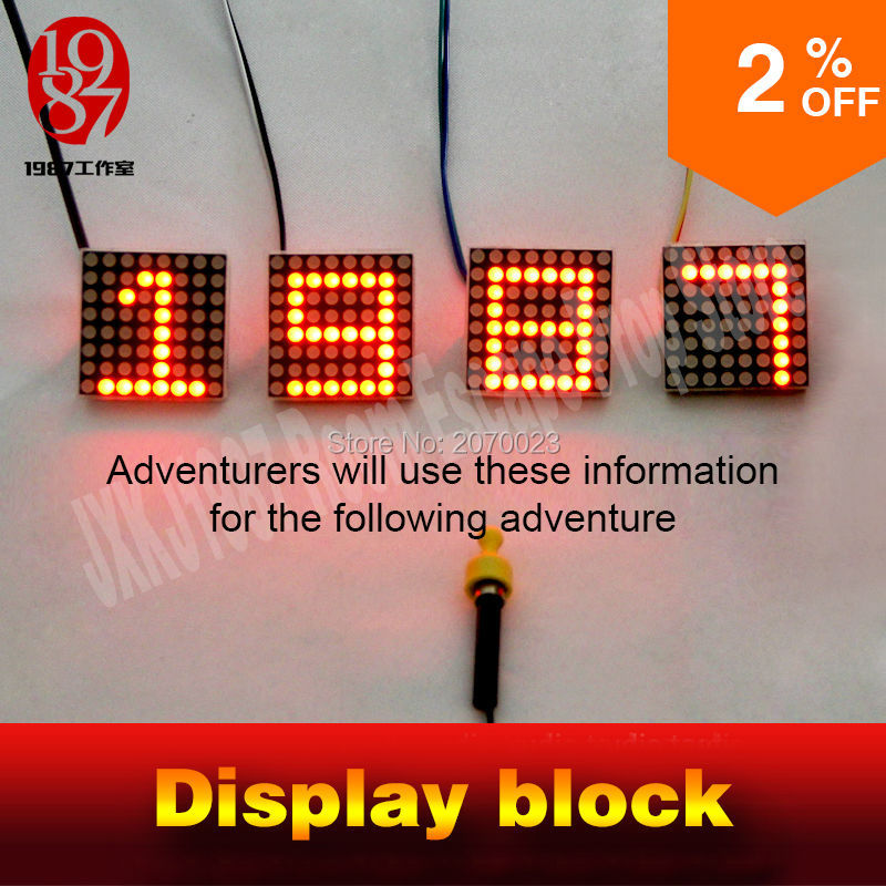Display block for room escape puzzle devices when magnetic close to get display hidden mysterious clues