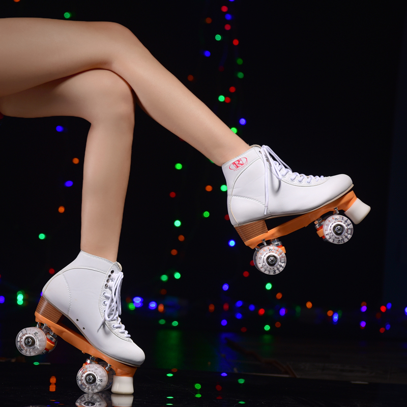 Girls white double roller skates, pulley shoes 4 wheel shoes polyurethane flashing wheels outdoor / indoor riding asphalt road children roller sneaker with one wheel led lighted flashing roller skates kids boy girl shoes zapatillas con ruedas