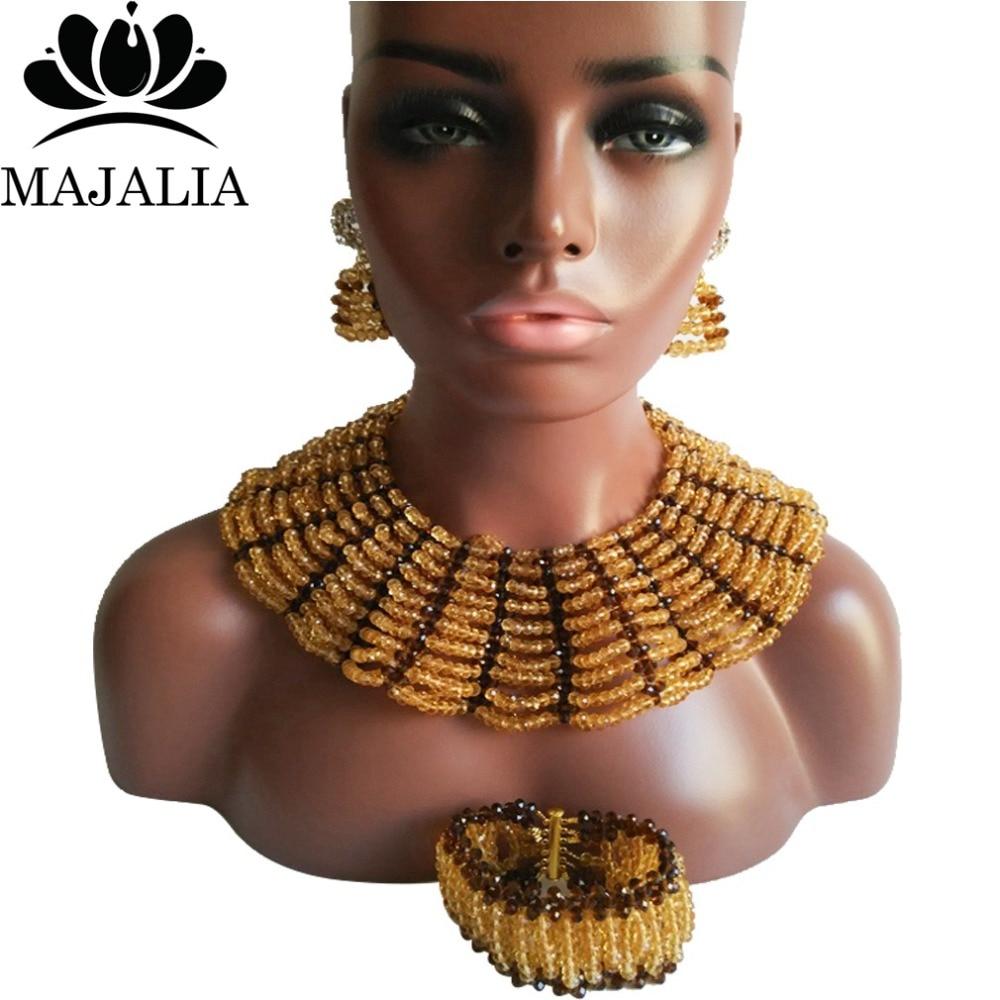 купить Majalia Classic Nigerian Wedding African Jewelry Set Gold champagne and Brown Crystal Necklace Bride Jewelry Sets 10SX004 по цене 3709.03 рублей