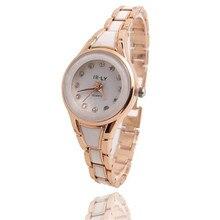 Reloj de moda para mujer, pulsera chapada en oro rosa, esfera cerámica, reloj de pulsera analógico de cuarzo, reloj de lujo femenino con relogo Vintage P30