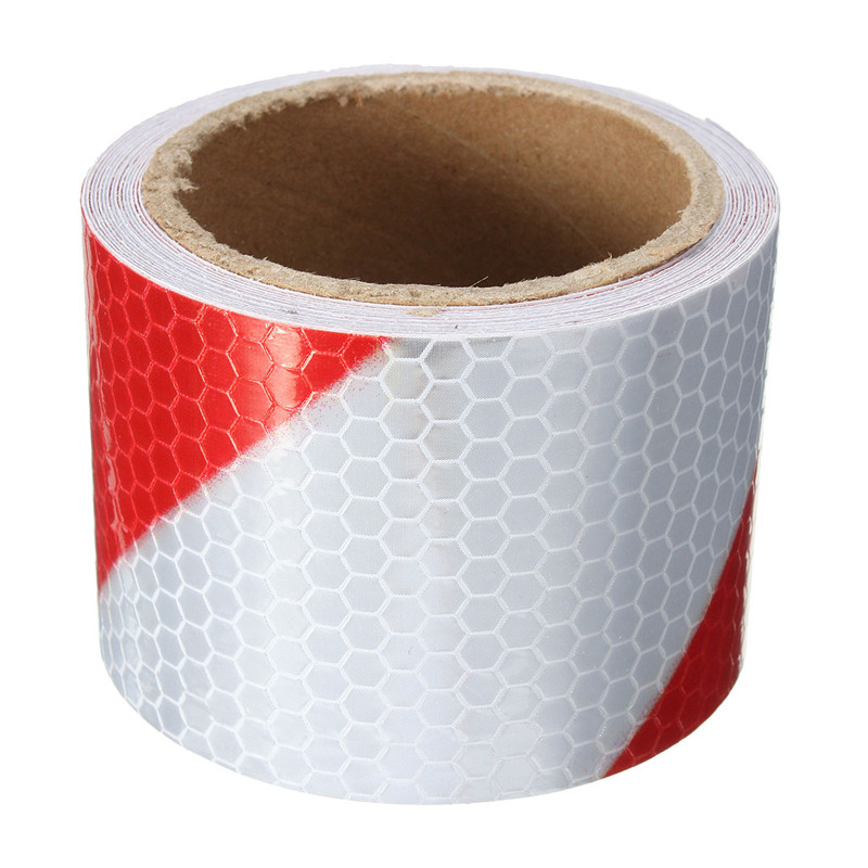 New 2x10' 3 Meters Red White Reflective Safety Warning Conspicuity Tape Film Stickers new 10pcs white reflective safety security warning conspicuity tape film sticker reflective film hot sale