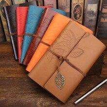 Cuaderno de viaje vintage diario planificador diario cuaderno de notas cubierta de cuero A5 A6 carpeta de anillas papel kraft libro de bocetos en blanco