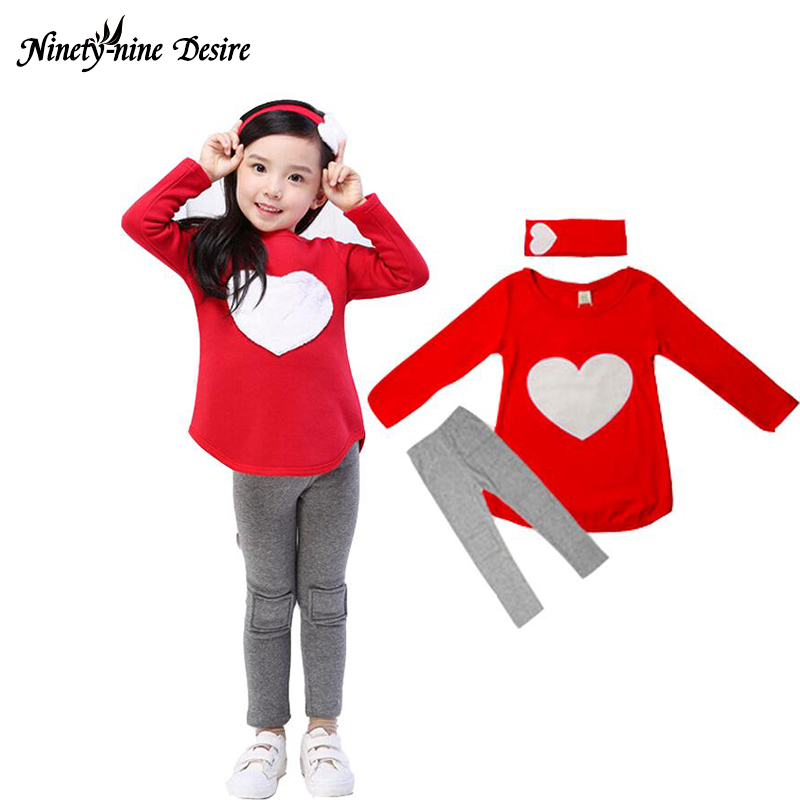 3PCS LOVE SET 1pc Hair Band+1pc Shirts+1pc Pants Children's Clothing Set Girls Clothes Suits Pink Red Long sleeve cute suit texet tm d226 dual sim red black
