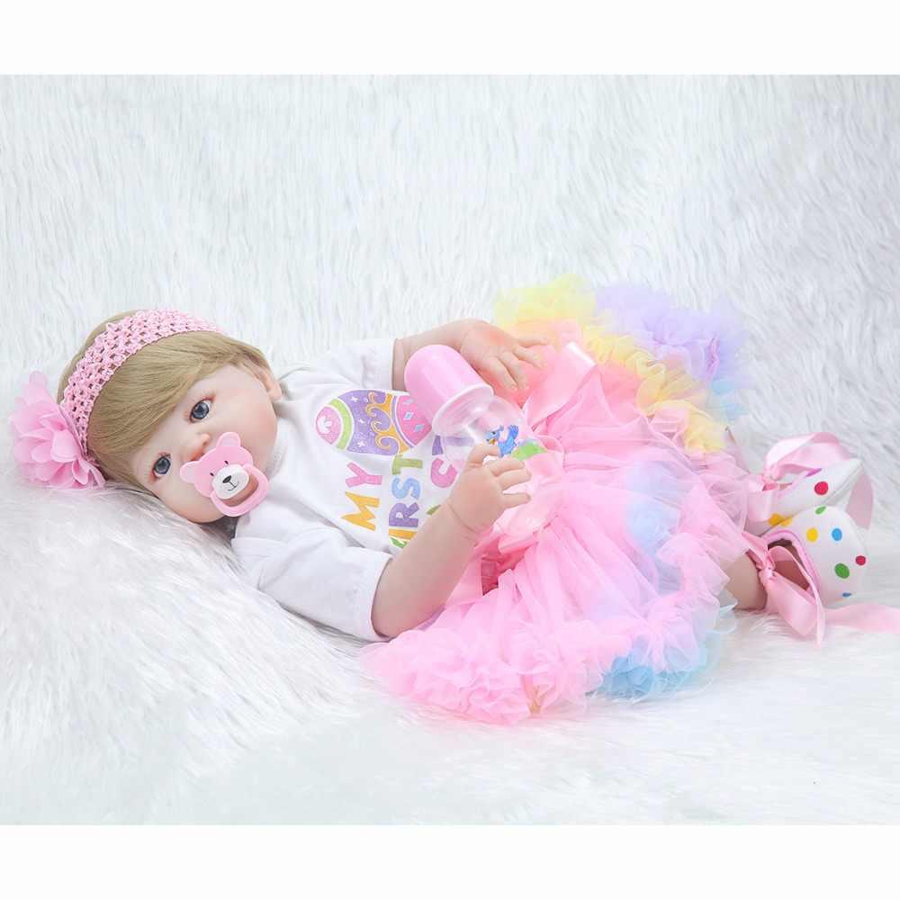22 дюйма силиконовые светлые голубые глаза для детей, подарок на день рождения, милая цветная юбка для маленькой принцессы