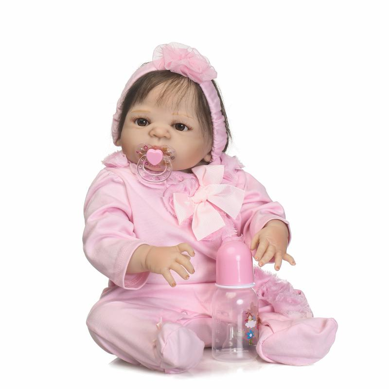 55cm Silicone Reborn Baby Dolls With Full Body High Quality Collectible Dolls Pink Dressed Princess Girl