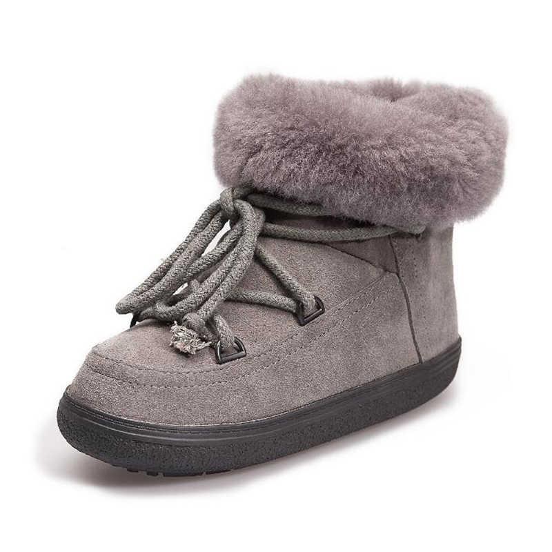 Yeni Varış Gerçek Kürk Su Geçirmez Hakiki Deri Ayak Bileği Kar Botları Kış Ayakkabı Kadın Uzay bayan botları Mujer Botas k576