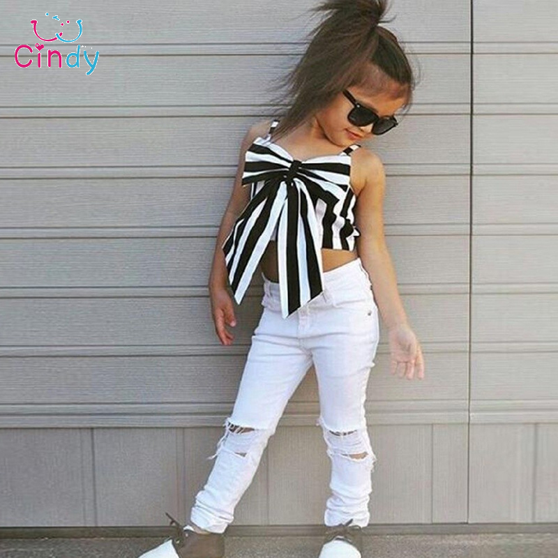 2017 Hot Girls Set Tops and Pants 2 Pieces Summer Stripes Ribbon Short Sling Fashion Hole Pants European Style Childrens Suits ...