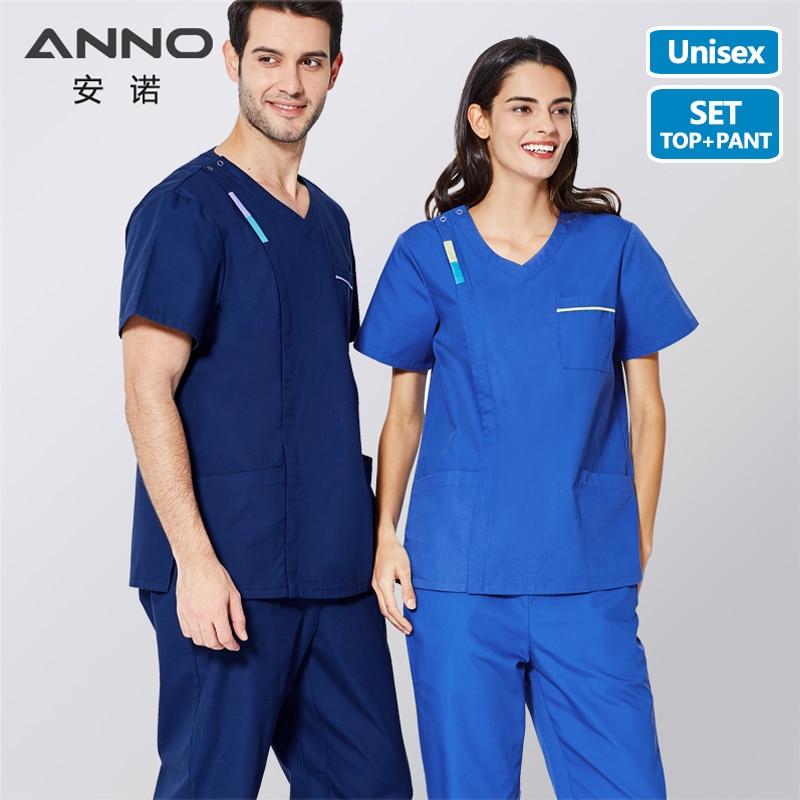 ANNO Medical Scrubs With Contrast Color Nursing Scrubs Dress Women Men Nurse Uniform Blue Surgery Clothing Tops Pants
