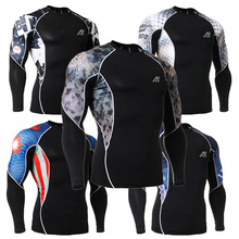 3D Prints Mens Long Sleeve Compression Shirt Elastic Workout Fitness Skin Tights MMA Rashguard Base Layer