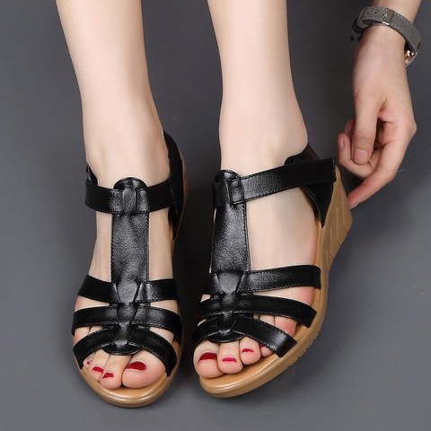 New Genuine Leather Women Sandals Women Summer Shoes Peep Toe Gladiator Sandals Wedges Oxford Shoes Woman Black White WSH3371 Multan