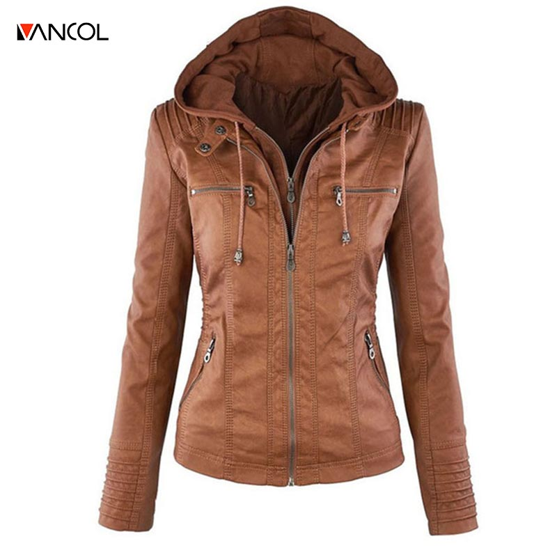 Vancol women Jackets long-sleeved lapel fashion solid color zipper leather coat jacket female pure color fashion whth hat