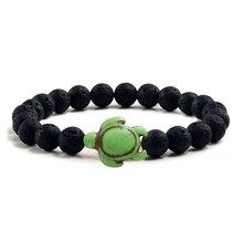 Lucky Blue Turtle Tortoise Natural Black Volcanic Lava Stone Beaded Bracelet For Men Women Bangle Fitness Yoga Pulsera hombre