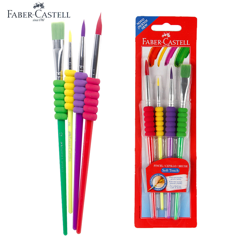 Faber Castell 4pcs Colorful Paint Brush Flat/Fine Tip Watercolor Gouache Oil Painting Sketch, Coloring for Kids,Artist faber castell fibre tip watercolor pen connector colored painting sketch premium art supplies for kids pack of 10 20 30 40 80