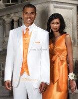 Индивидуальный смокинг жениха костюм для жениха, на заказ белые костюмы с оранжевая Майка/жилет, сшитый на заказ мужской костюм на свадьбу