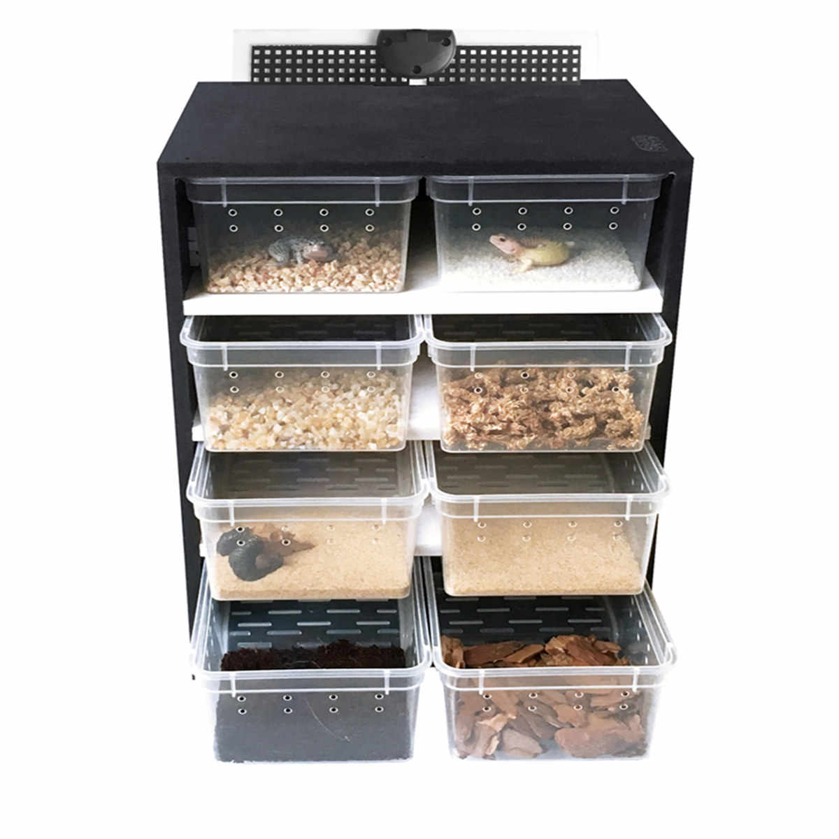4 Layers Acrylic Feeding Box Terrarium Reptiles Breeding Tank Insect Lizards Pet Cage House Drawer with Hygrometer Heating Pad