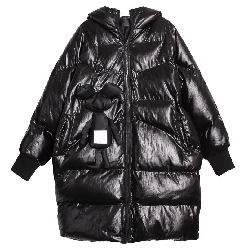 Larga Moda Manga De Black Chicever Para Cremallera Invierno Ropa Las Abrigo Mujer Con 2018 Chaqueta Coat Capucha Mujeres Chaquetas Oversize Vestido wq1aSf801