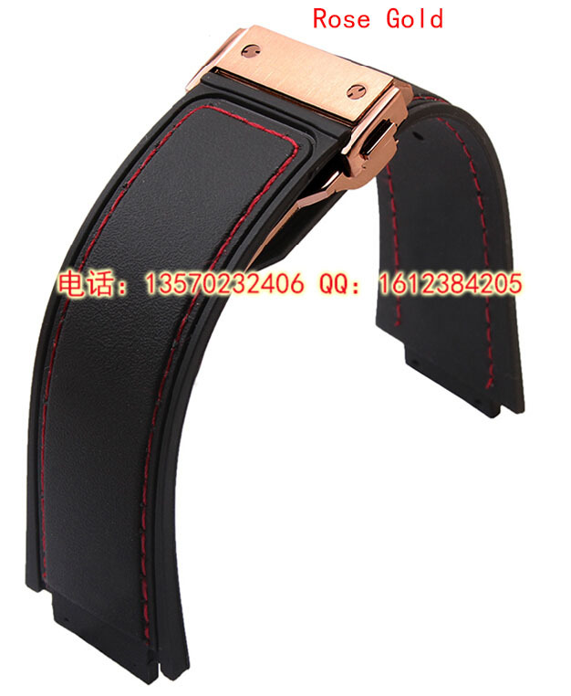29mm 19mm Buckle High Quality Black Rubber Watch Band Strap WIith Red Thread Rose Gold Deployment