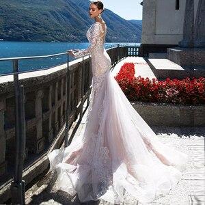 Image 3 - 2020 Vestido de Casamento Mermaid ชุดแขนยาวเซ็กซี่ Vestido de Noiva Sereia ดูผ่านกลับ Abito เจ้าสาว