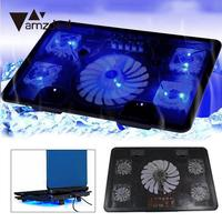 5 Fans 2 USB Cooler Cooling Pad Base LED Computer Fan Stand For Notebook Laptop Radiator