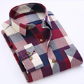 2016 male fashion long-sleeved plaid shirt
