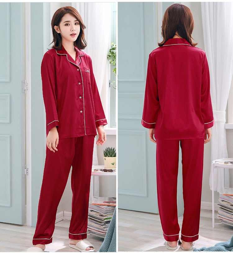 ... Women Pajamas Sets Long Sleeve Silk Satin Casual Couple Soild Pajama  Set Sleepwear Suit Lovers  ... 7eb418dbb
