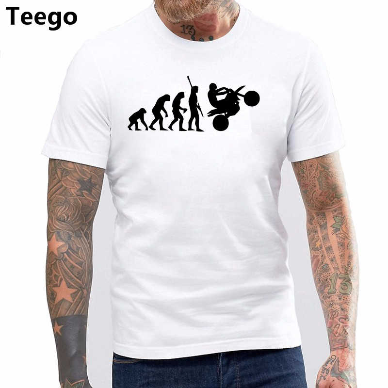 Fashion Human Dirtbike Evolution Funny T shirts men Super Motorcycle Car Race custom print Tshirt Father's gift KTM Hip hop Tees