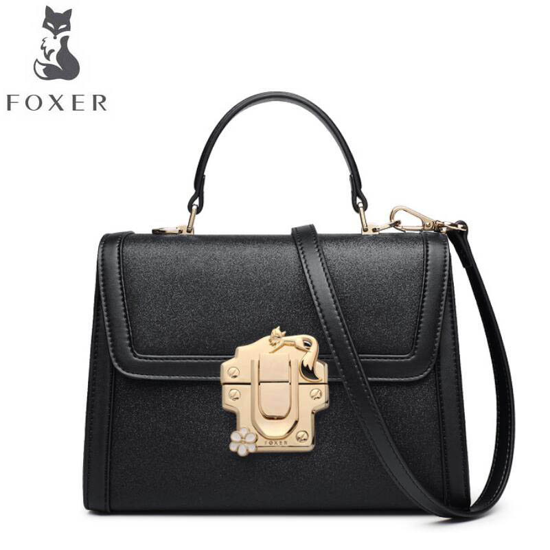 FOXER 2017 new brand women leather bag fashion Casual wild women leather handbags shoulder bag quality cowhide small bag 2018 new foxer brand women leather bag high quality fashion chains women shoulder messenger bag cowhide black simple small bag
