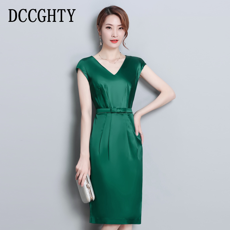 Elegant Women 2019 Spring Dresses Solid Black V Neck Sexy Dress Women Vestidos Bodycon Sleeveless Party Dress High Waist