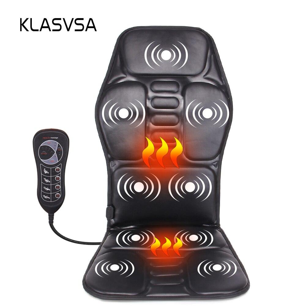 KLASVSA Électrique Portable Chauffage Vibrant Fauteuil De Massage En Discussion Voiture Home Office Lombaire Cou Matelas Soulagement de La Douleur