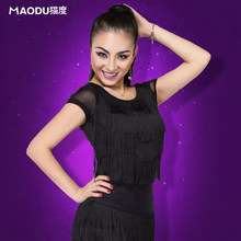 Free shipping, 2016 high quality elegant latin dancing top for female/women/girl, short-sleeve costume performance wears