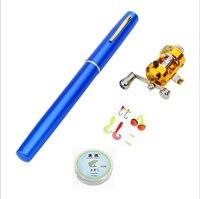 미니 포켓 텔레스코픽 낚시 극 막대 세트 알루미늄 합금 펜 경량 휴대용 접이식 낚싯대 릴 라인 후크 t4