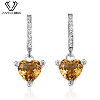 DOUBLE-R Genuine Citrine Hoop Earrings For Women 925 Sterling Silver Ladies Classic Party Fine Heart Gemstone Jewelry CASE00768A