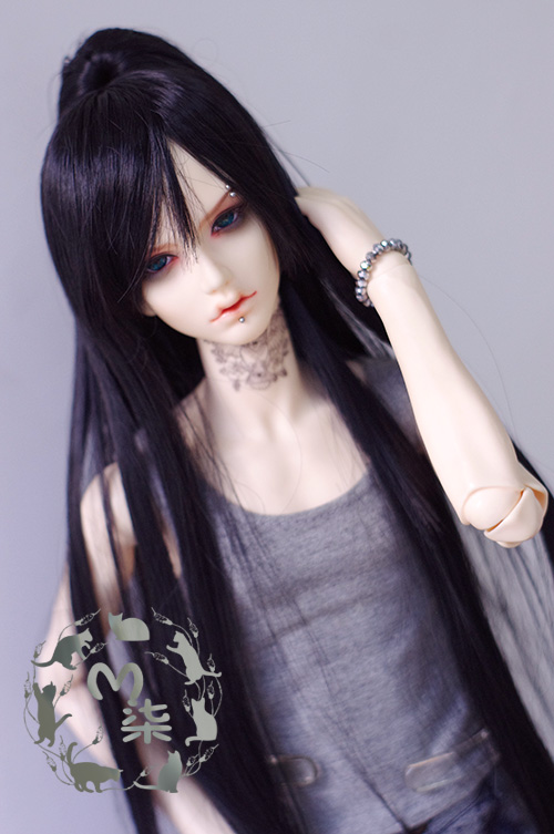 1/3 BJD Wigs black  long straight hair doll DIY High-Temperature Wire for  bjd dollfie  цена