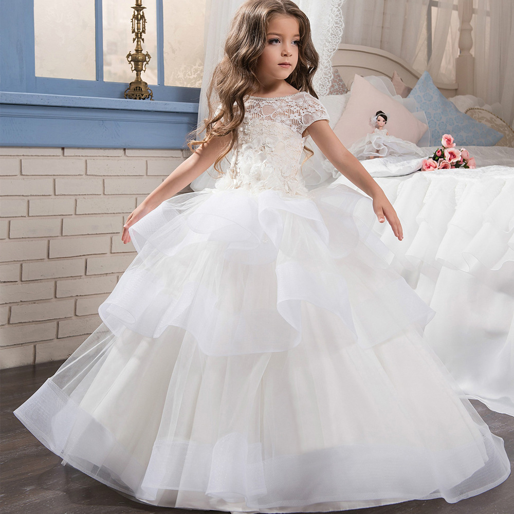 Backless Layered First Holy Communion Dress Small Trailing Lace Flower Girl Dresses for Wedding Appliques Party Vestidos B351
