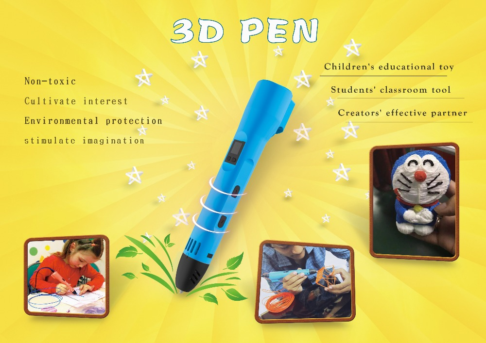 QCREATE QW01-012B 3D Pen PCL Low Temperature 3D Printing Pen LCD screen Heating Temperature and Speed Control free send 10M PCL 9